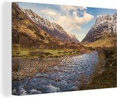 Mooie riviertje met op de achtergrond de Ben Nevis Canvas 30x20 cm - klein - Foto print op Canvas schilderij (Wanddecoratie woonkamer / slaapkamer)