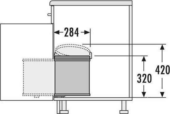 Hailo Inbouw Prullenbak - 15 l - Zilvergrijs / Zwart