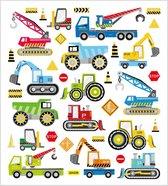 Stickers. bouwplaats voertuigen. 15x16.5 cm. 1 vel