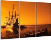 Canvas schilderij Boot   Oranje, Bruin, Zwart   120x80cm 3Luik