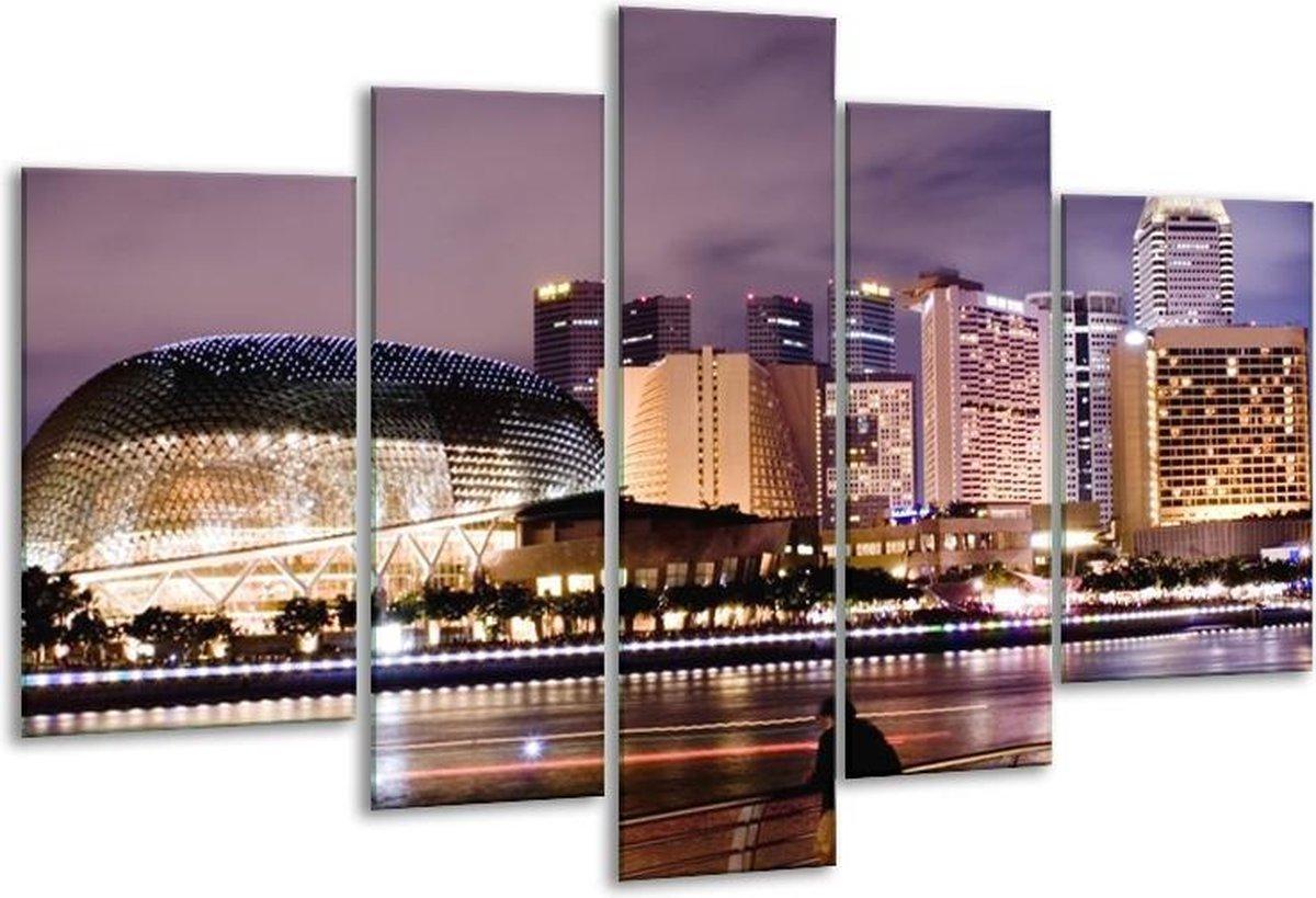 Glasschilderij Steden | Paars, Wit, Bruin | 170x100cm 5Luik | Foto print op Glas |  F000526