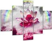 Glasschilderij Lelie   Roze, Grijs   100x70cm 5Luik   Foto print op Glas    F005858