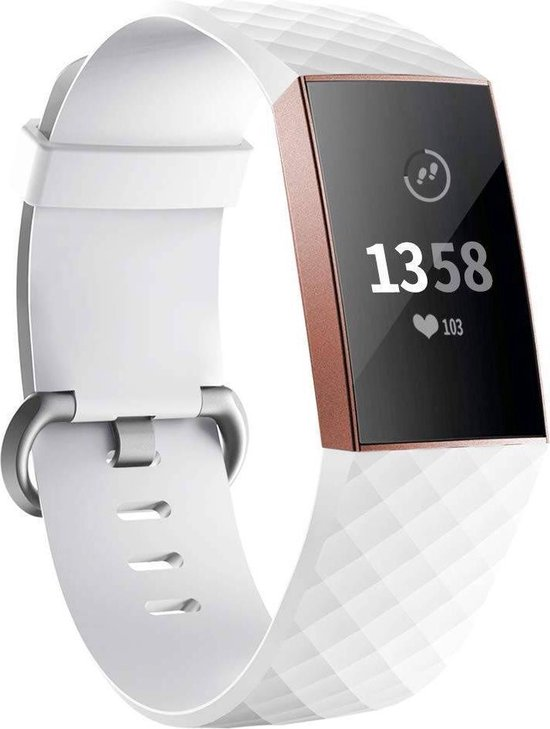 123Watches.nl Fitbit charge 3 sport wafel band - wit - ML