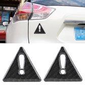 2 STKS Auto-Styling Driehoek Koolstofvezel Waarschuwing Sticker Decoratieve Sticker (Zwart)