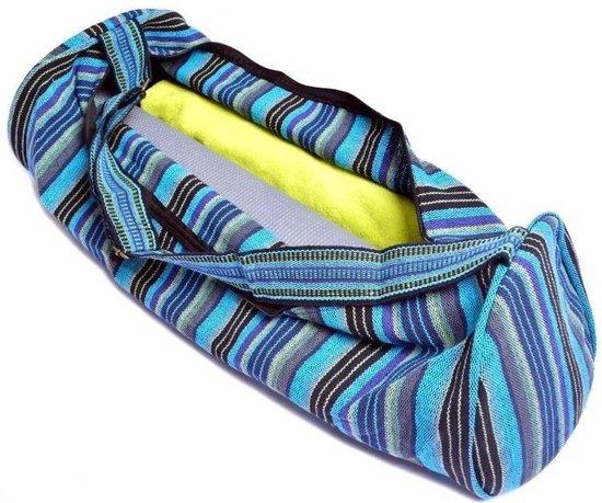 Yogamat tas katoen blauw gestreept - 67x24 - Katoen - Blauw