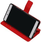 Wicked Narwal | Cross Pattern TPU bookstyle / book case/ wallet case voor Huawei P8 Rood