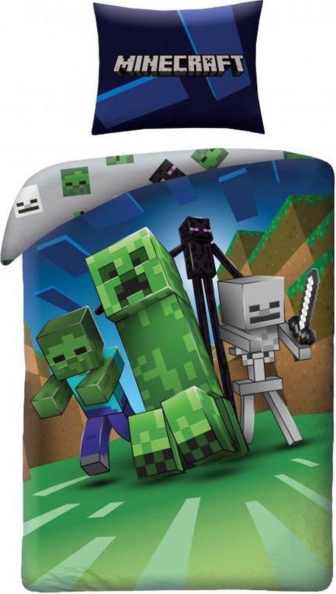 Minecraft Dekbedovertrek Nacht - Eenpersoons - 140  x 200 cm - Katoen