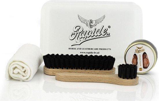 Schoenpoetsset, 2 Borstels insmeren en poetsen, Zwarte Schoensmeer, Uitpoetsdoek, handige Opbergbox