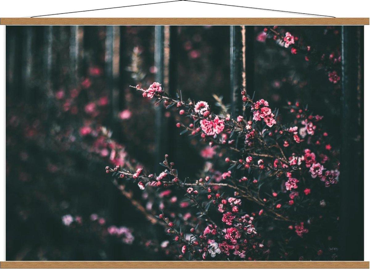 Schoolplaat   Roze Struik met Kleine Bloemen - 120x80cm Foto op Textielposter (Wanddecoratie op Schoolplaat)