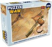 Puzzel 1000 stukjes volwassenen Ouderwets navigatiemateriaal 1000 stukjes - Oude verrekijker en kompas op wereldkaart  - PuzzleWow heeft +100000 puzzels