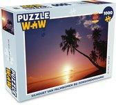 Puzzel Zonsondergang 1000 stukjes - Silhouet van palmbomen bij zonsondergang