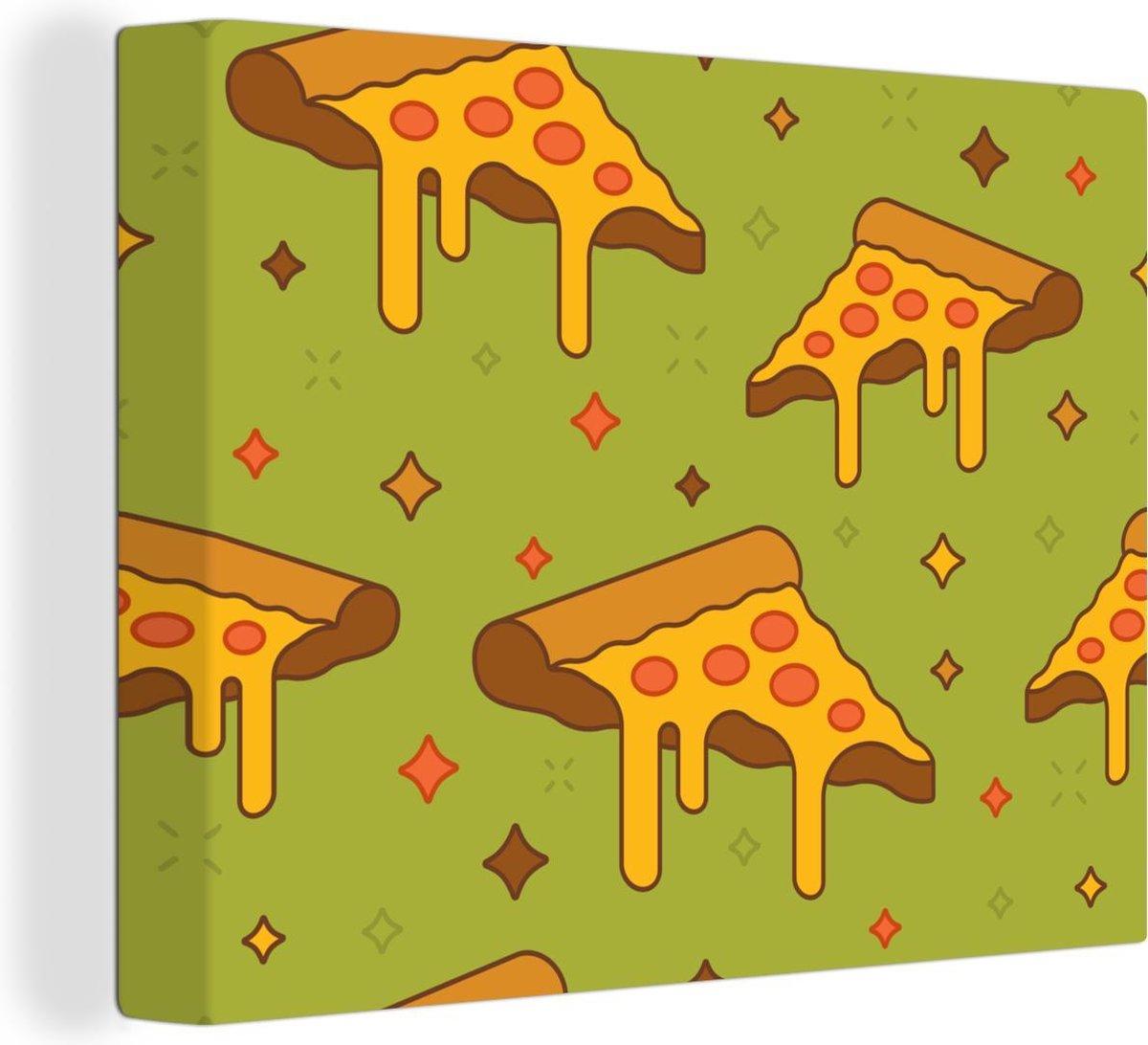Canvas Schilderij Kaas illustratie - Illustratie van stukken pizza salami canvas 2cm - 80x60 cm - Foto print op Canvas schilderij (wanddecoratie woonkamer / slaapkamer)