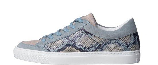 KUNOKA Gabrielle snake light blue - Sneakers Dames - maat 41 - Blauw Ivoor Wit Slangenprint
