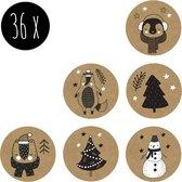 36x Stickers / Kerststickers / Sluitstickers / Cadeaustickers | KERST | kraft | 25 mm