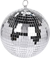 1x Grote zilveren disco kerstballen discoballen/discobollen glas/foam 12 cm - Discoballen kerstballen - kerstversiering