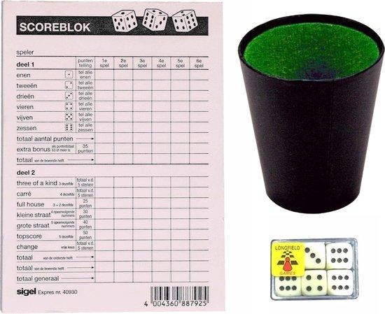 Compleet Yahtzee spel set 100 vellen scoreblok/6 dobbelstenen/1 beker - Familiespellen - Dobbelspellen - Dobbelspel