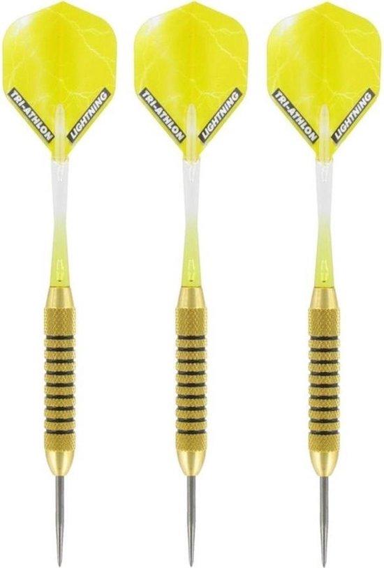 Afbeelding van het spel 1x Set van 3 dartpijlen Speedy Yellow Brass 21 grams - Darten/darts sport artikelen pijltjes messing
