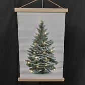 Kerstboom op canvas doek inclusief verlichting L 40X60 CM