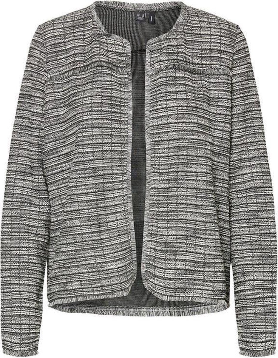 Vmnaomi l/s bouclé jacket Black/white stripes.