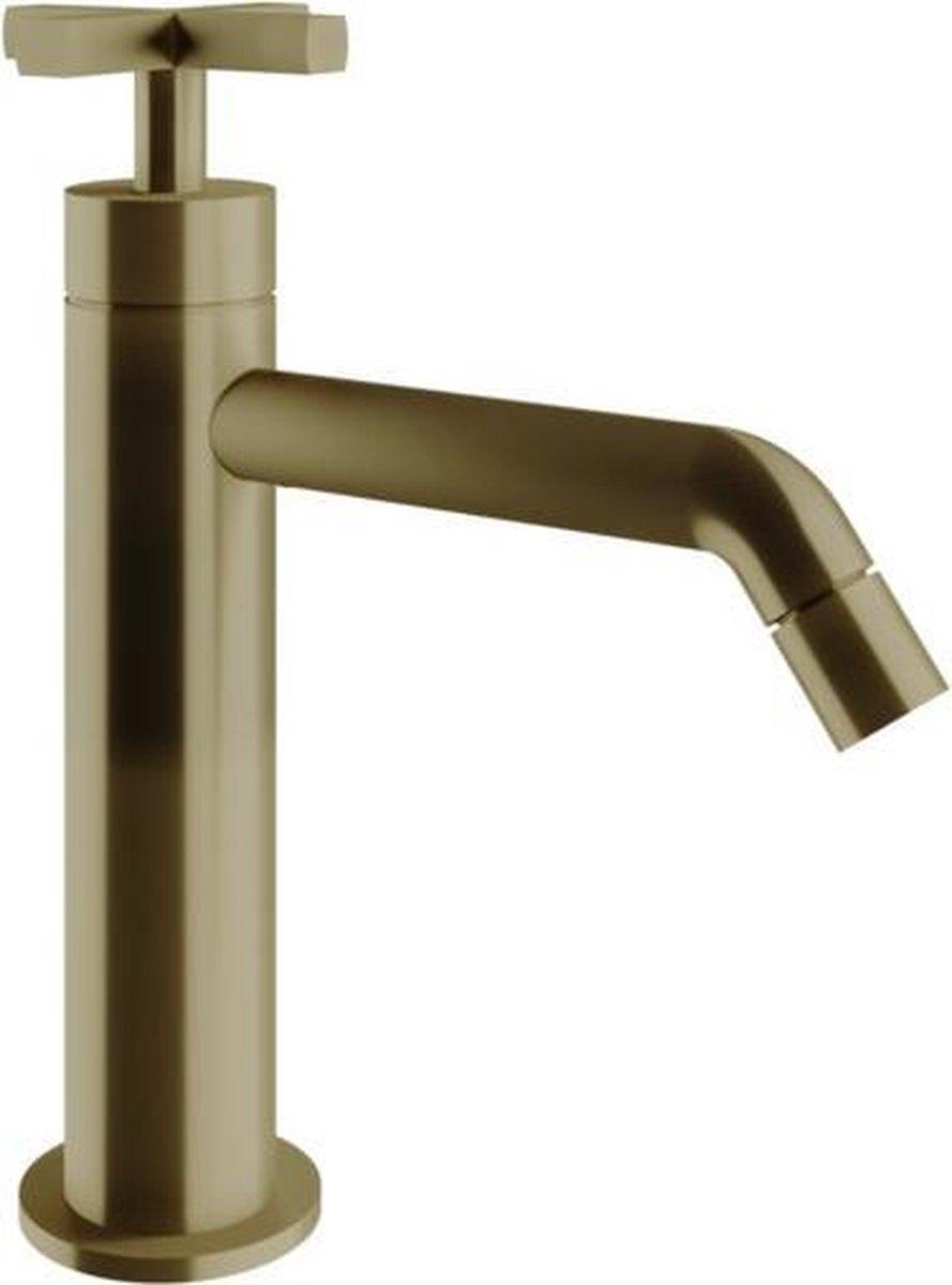 Vtwonen baden Cross wastafelkraan met kruisgreep zonder waste bronze