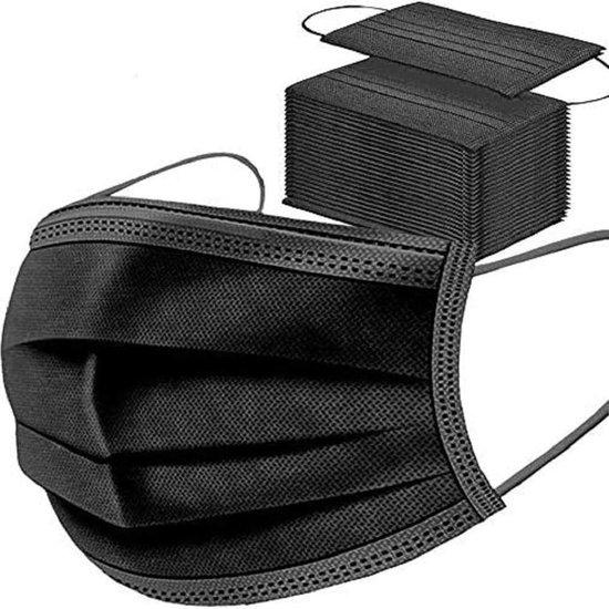 Afbeelding van 150 stuks - Wegwerp 3-laags gezichtsmaskers, hoge filtreerbaarheid, geschikt voor de gevoelige huid (zwart)
