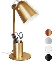 relaxdays bureaulamp met pennenbakje - ijzeren tafellamp - bureaulampje - E27 - modern goud