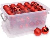 Christmas Gifts Kerstballen Set in Opbergbox - 70 Kerstballen - Plastic/Kunststof - 4/5/6 cm - Rood