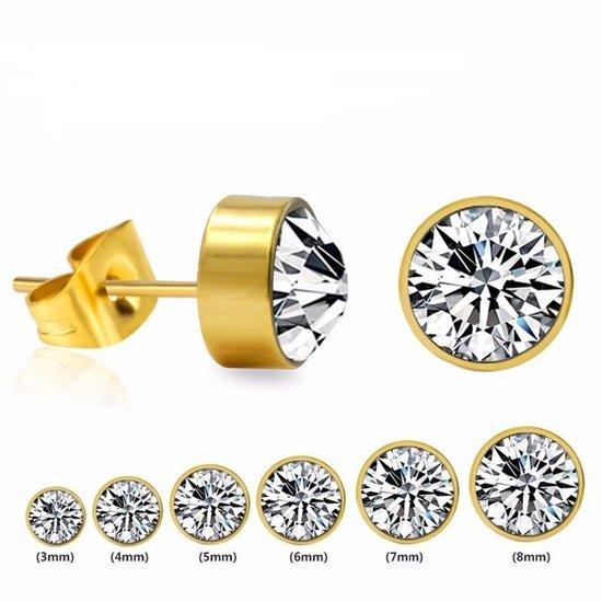 Aramat jewels ® - Zweerknopjes kristal transparant chirurgisch staal goudkleurig 4mm