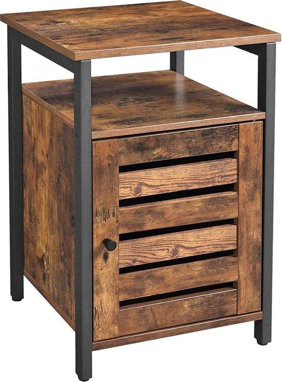 Nachtkastje - bijzettafel met deur en planken - 40x40x60 - bruin