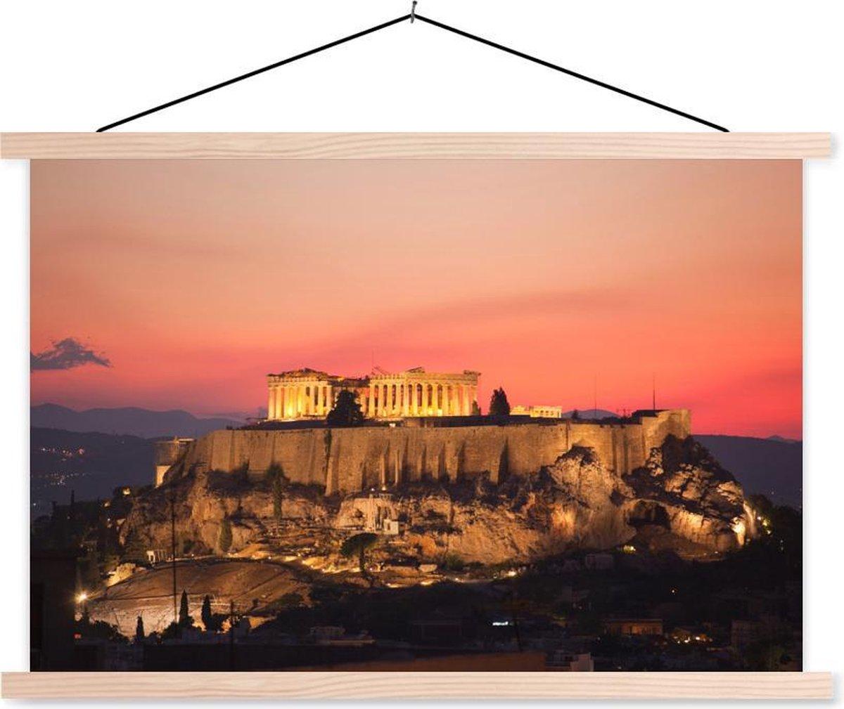 Akropolis bij zonsondergang schoolplaat platte latten blank 120x80 cm - Foto print op textielposter (wanddecoratie woonkamer/slaapkamer)