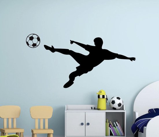 Muursticker voetbal omhaal sliding jongenskamer - wanddecoratie sticker - zwart