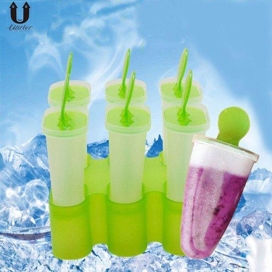 Plastic Waterijs Vormen (Set 6 Stuks) - IJslolly – IJsvormpje – IJsjes Maker - Zelf Ijs Maken – Waterijs