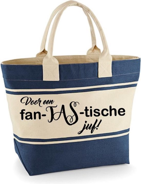 Tekstballon Dames Shopper Blauw