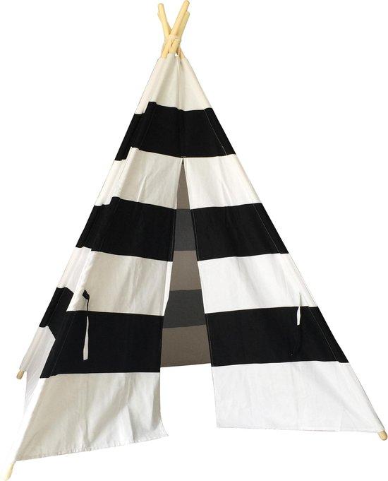 Kindertipi wigwam zwart/wit gestreept 100% katoen - Speeltent