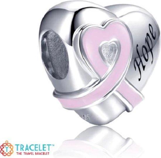 Zilveren bedel Pink Ribbon Borstkanker Pink Ribbon - 925 zilver