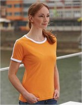 Oranje met wit dames t-shirt L