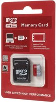 microSD SDHC kaartje met SD adapter in 8GB, 16GB of 32GB