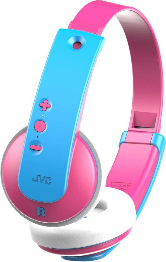 JVC HA-KD9BT - Draadloze kids koptelefoon - Roze/Blauw
