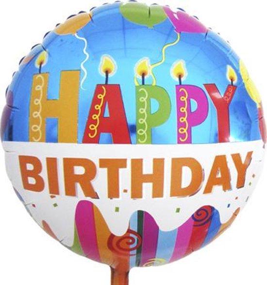 Folie ballon Happy Birthday   18 inch   43 cm   Geschikt voor helium en lucht