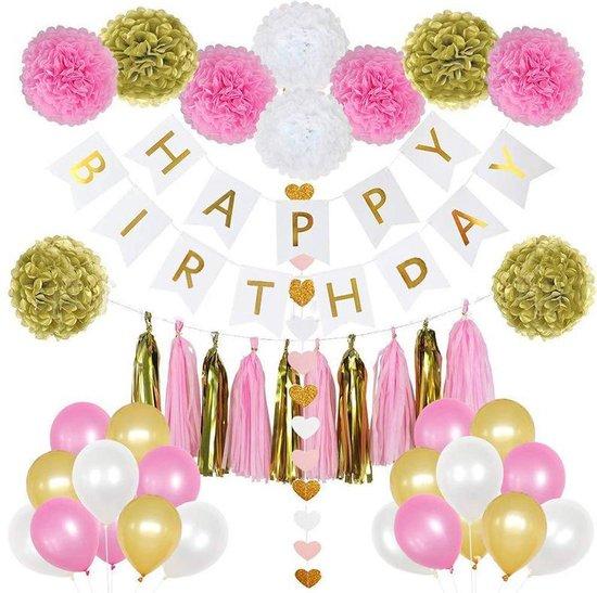 Happy birthday set - 45 Delig - Conffeti ballonnen - Helium ballonnen - Verjaardag - Feestje - Roze - Goud - Wit