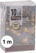 Kerstverlichting op batterij warm wit 10 lampjes - 1 meter