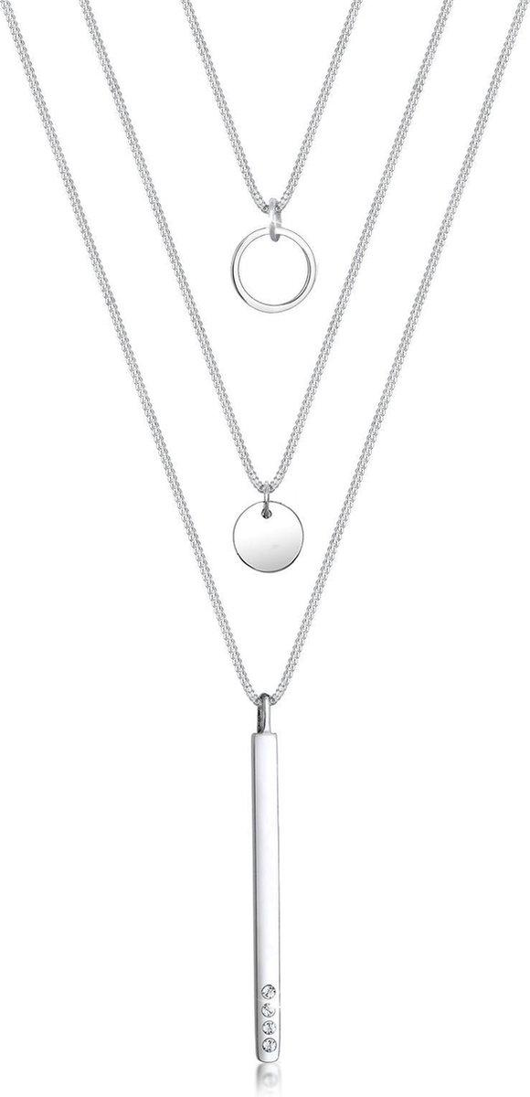 Elli Ketting Circle Geo Layer Geo Swarovski® Kristallen 925 Sterling Zilver - Elli