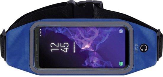 Running Belt Heupband Sportriem Hardloop Band Blauw – Riem met Smartphone Houder voor Fitness – Universeel voor alle telefoons (Samsung, Huawei, Apple) - van iCall