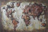 Wanddecoratie Wereldkaart 120*80*4 cm Multi | JJWA00055 | Clayre & Eef