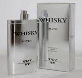 Whisky Silver Prestige (een frisse parfum in een heupflacon met Kruidige Nootmuskaat en Ceder) 80 ml
