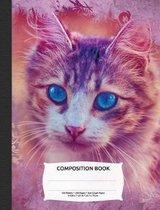 Vintage Paper Cute Cat Composition Notebook, Graph Paper