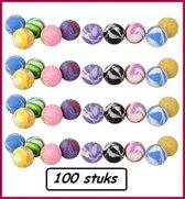 100x Stuiterballen div.kleuren - Stuiter bal sport thema feest spelen stuiterbal