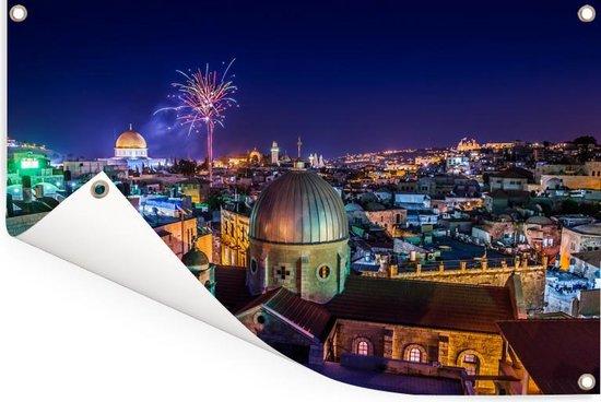 Vuurwerk boven Jeruzalem en de Heilig Grafkerk Tuinposter 120x80 cm - Tuindoek / Buitencanvas / Schilderijen voor buiten (tuin decoratie)
