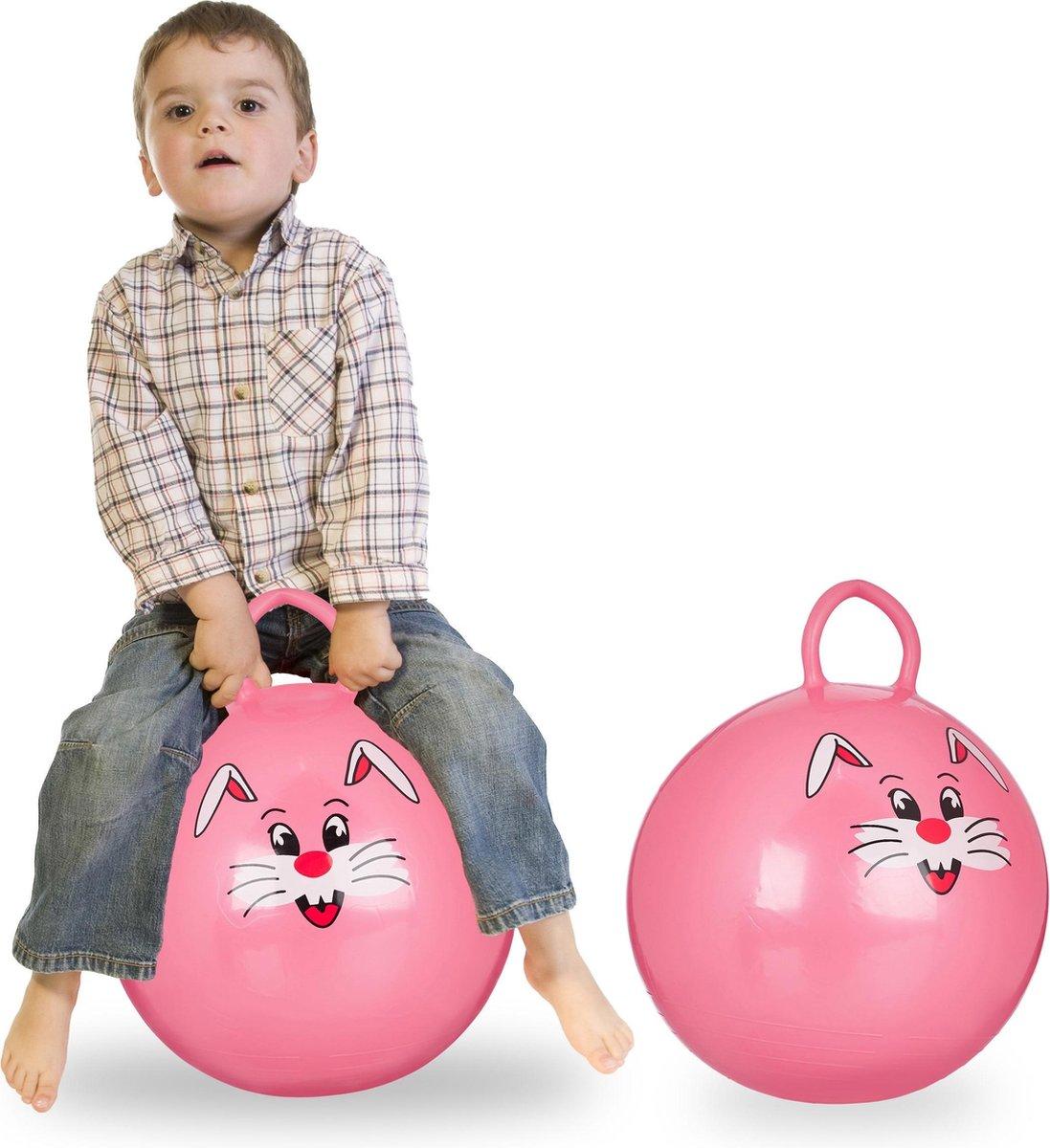 relaxdays 2 x skippybal in set - voor kinderen - Met konijn opdruk - springbal - roze