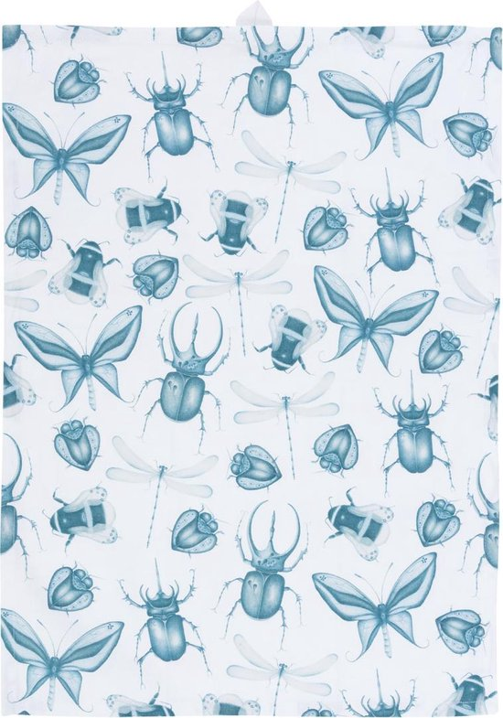 by Sorcia - theedoek Delft Blue Insects - 50x70cm - katoen - designed in Holland